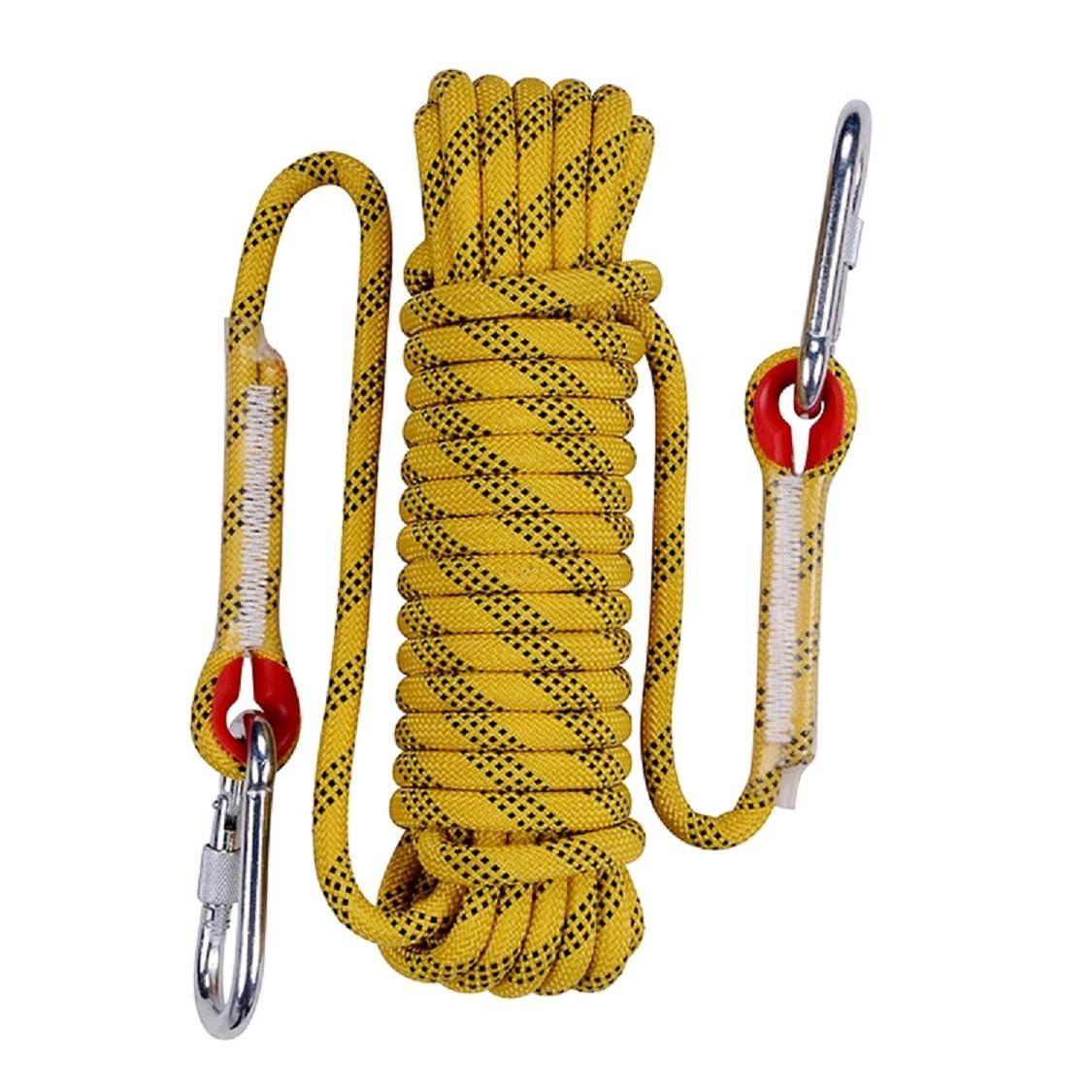 QIANGSHENG 多目的ロープ 太さ: 12mm 長さ: 20m 50m 耐荷重1500㎏ セット アウトドア キャンプ 防災 B0755VMDZM イエロー 20m 20m|イエロー