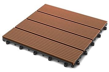 Sam Terrassen Fliese Wpc Kunststoff Einzelfliese Farbe Teak Garten Balkon Bodenbelag Mit Drainage Klick Fliese