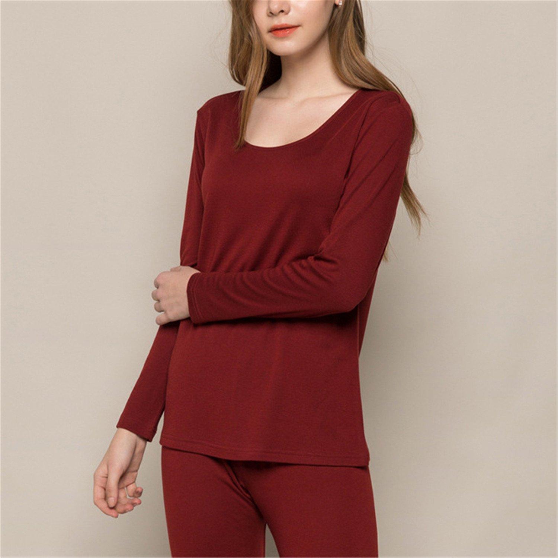 Dapengzhu Women long 30%Natural silk 70%Wool Intimates suit Long sleeve sleep wear NEW FALL WINTER NEW PINK RED NUDE Wine M