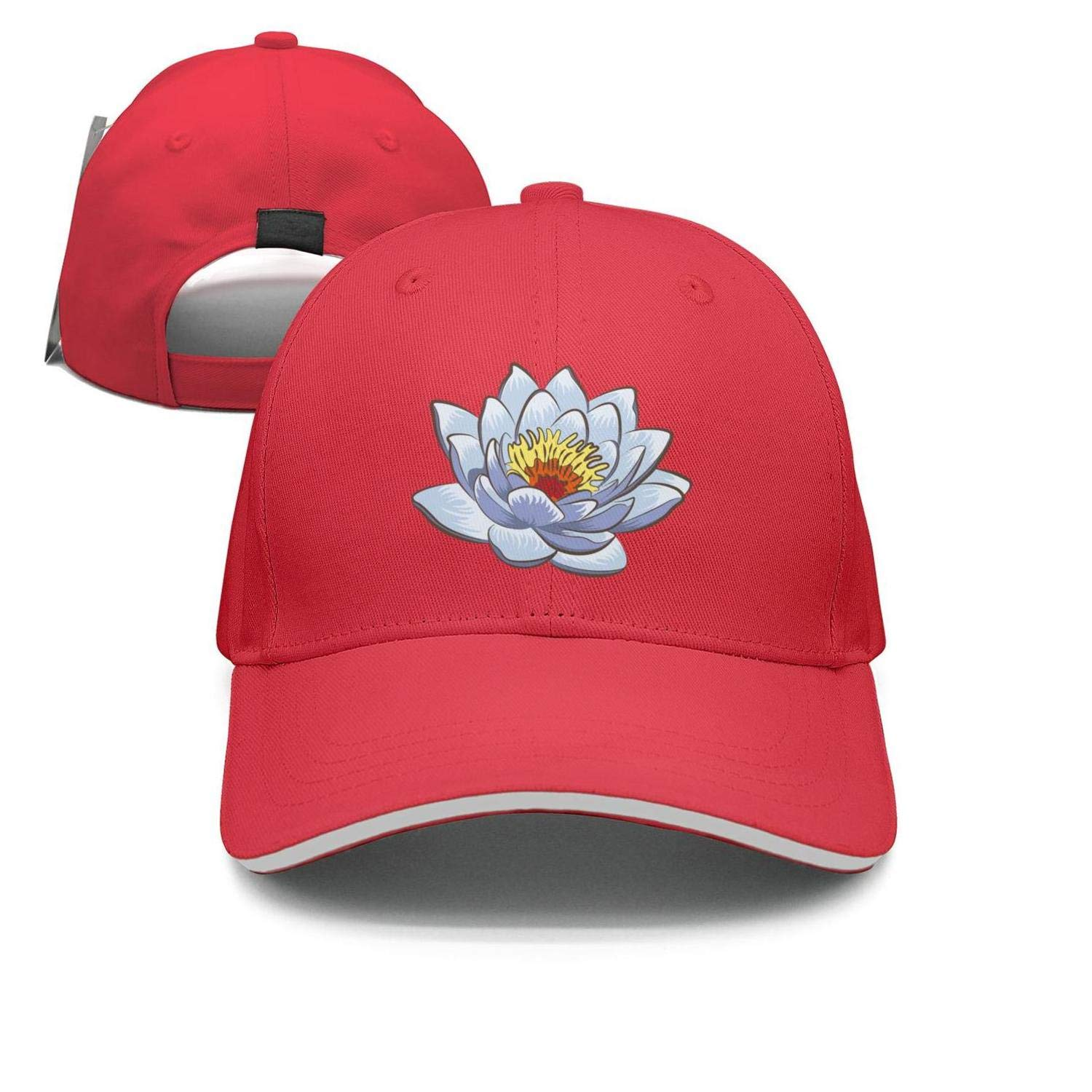 Sounthhery Unisex White Sacred Lotus Flower Sandwich Baseball Cap  Adjustable Snapback Dad Hat at Amazon Men s Clothing store  a83ddd63113f