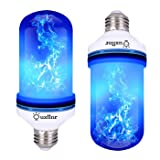 Ouxiinr LED Blue Flame Effect Light Bulb E26 Atmosphere Decoration Fire Flickering Simulation 108 pcs 2835 LED Beads Flame Bulb for Halloween/Christmas Decoration (2 Pack) (Color: Blue, Tamaño: Medium)