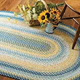 Oval Braided Rug 4′ x 6′ Homespice Sunflowers Blue, Grey, Yellow Made from Cotton, Durable Eco Friendly Natural Fiber, Easy to Clean, Reversible, Handmade Review