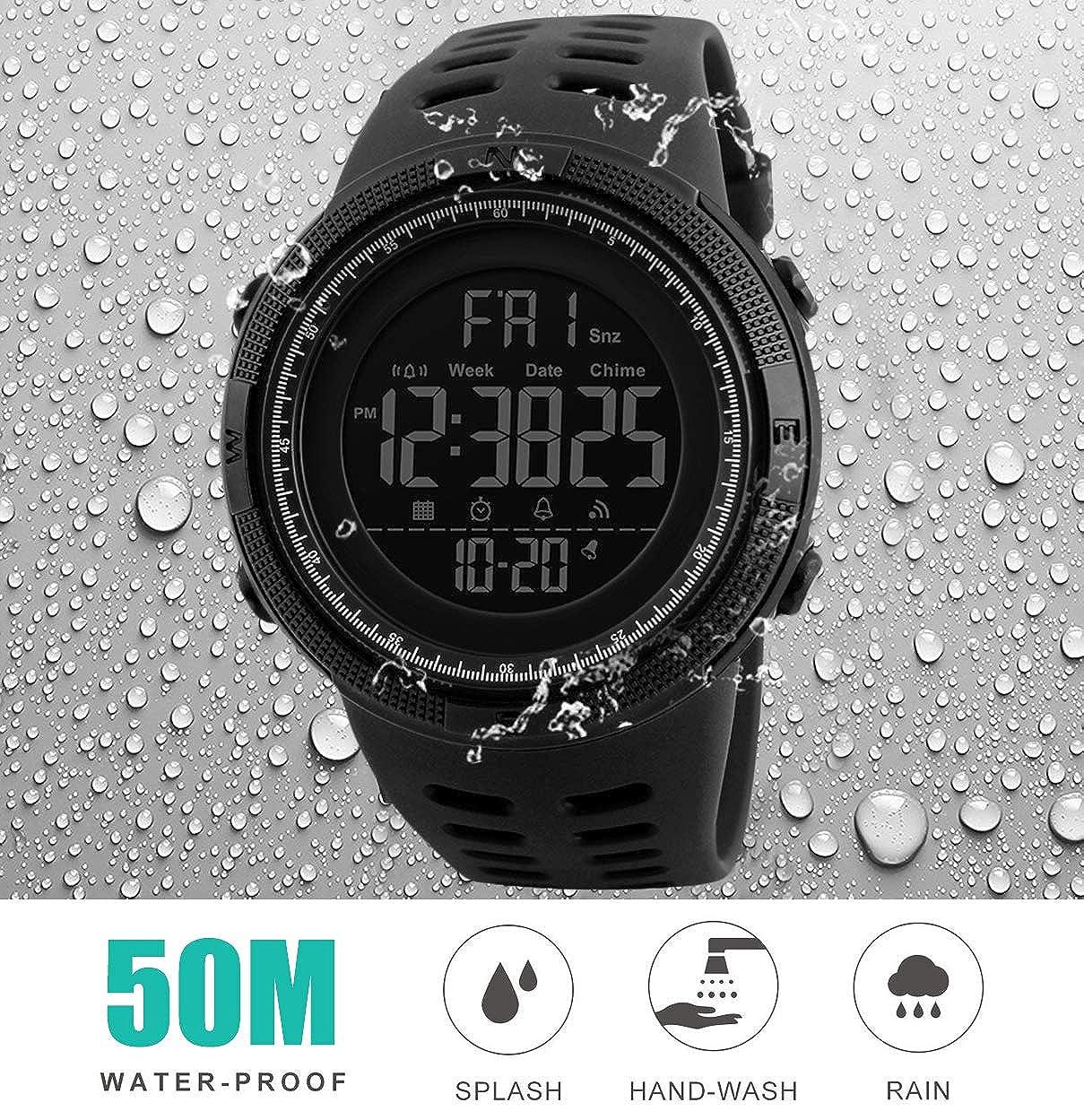 Reloj Digital para Hombre - 50M impermeable Deportivo Relojes de pulsera Prueba para Hombre, Reloj Militar Negro LED con Alarma/cuenta regresiva/Cronómetro ...