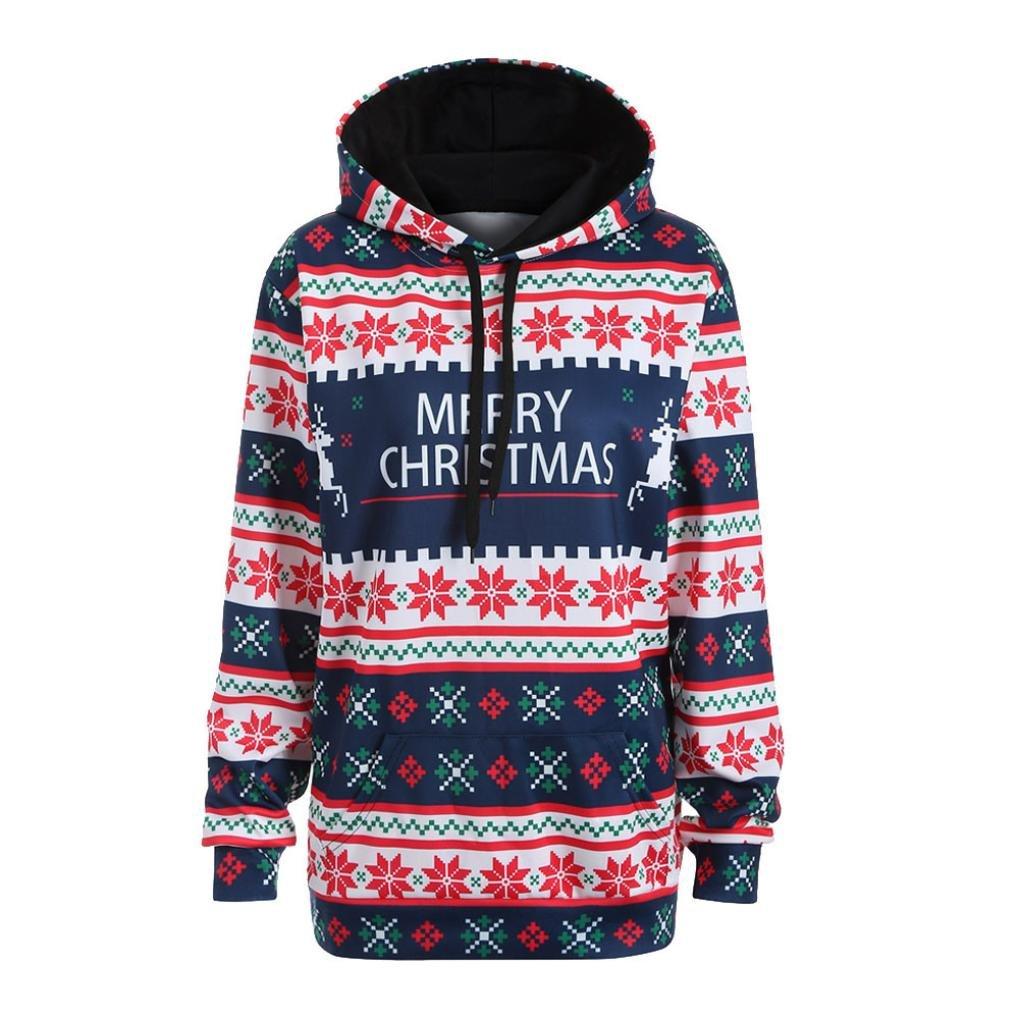 Women Letter Print Merry Christmas Hooded Jumper Mingfa Long Sleeve Sweatshirt Pullover Tops Blouse T-Shirt