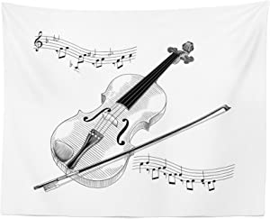Lunarable Violin Tapestry, Symphony Classical High Art Music Instrument Performing Cello Orchestra Print, Fabric Wall Hanging Decor for Bedroom Living Room Dorm, 28