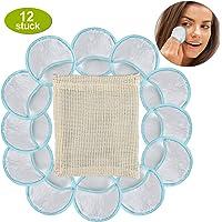 12x Abschminkpads Waschbar (2.Gen) - Fingergerechtes Design,100% Natürliche Bio Bambus-Viskose, Zero Waste Alternative, Wiederverwendbar, Wattepads Wiederverwendbar (Wäschenetz)