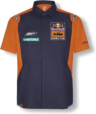 Red Bull KTM Official Teamline Camisa, Azul Hombres Camisa Manga Larga, KTM Factory Racing Original Ropa & Accesorios