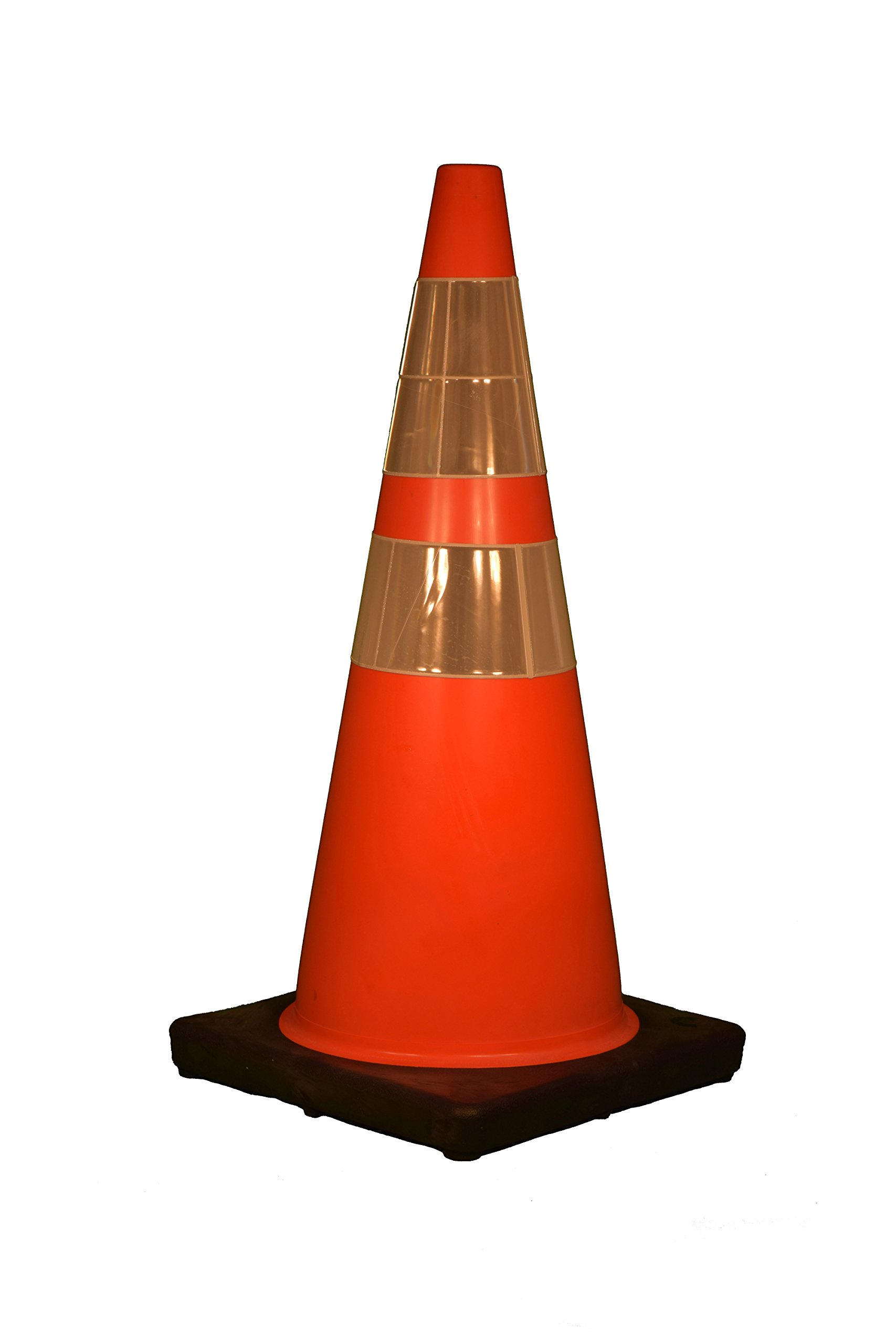 Cortina 03-500-10 Vinyl Traffic Cone with Black Base and 6'' Upper/4'' Lower Reflective Collar, 28'' Height, Red/Orange