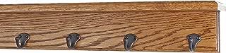 "product image for PegandRail Oak Shelf Coat Rack with Aged Bronze Single Style Hooks (Chestnut, 21"" with 4 Hooks)"