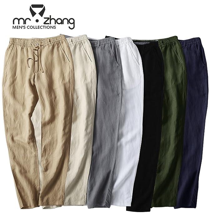 9b496239c411 Mr.Zhang Men s Drawstring Casual Beach Trousers Linen Summer Pants at  Amazon Men s Clothing store