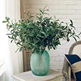 Htmeing 28-Inch Shrub Leaves Artificial Olive Branches Foliage Fake Friut Leaves Branch Stems for Home Wedding Decoration--6pack