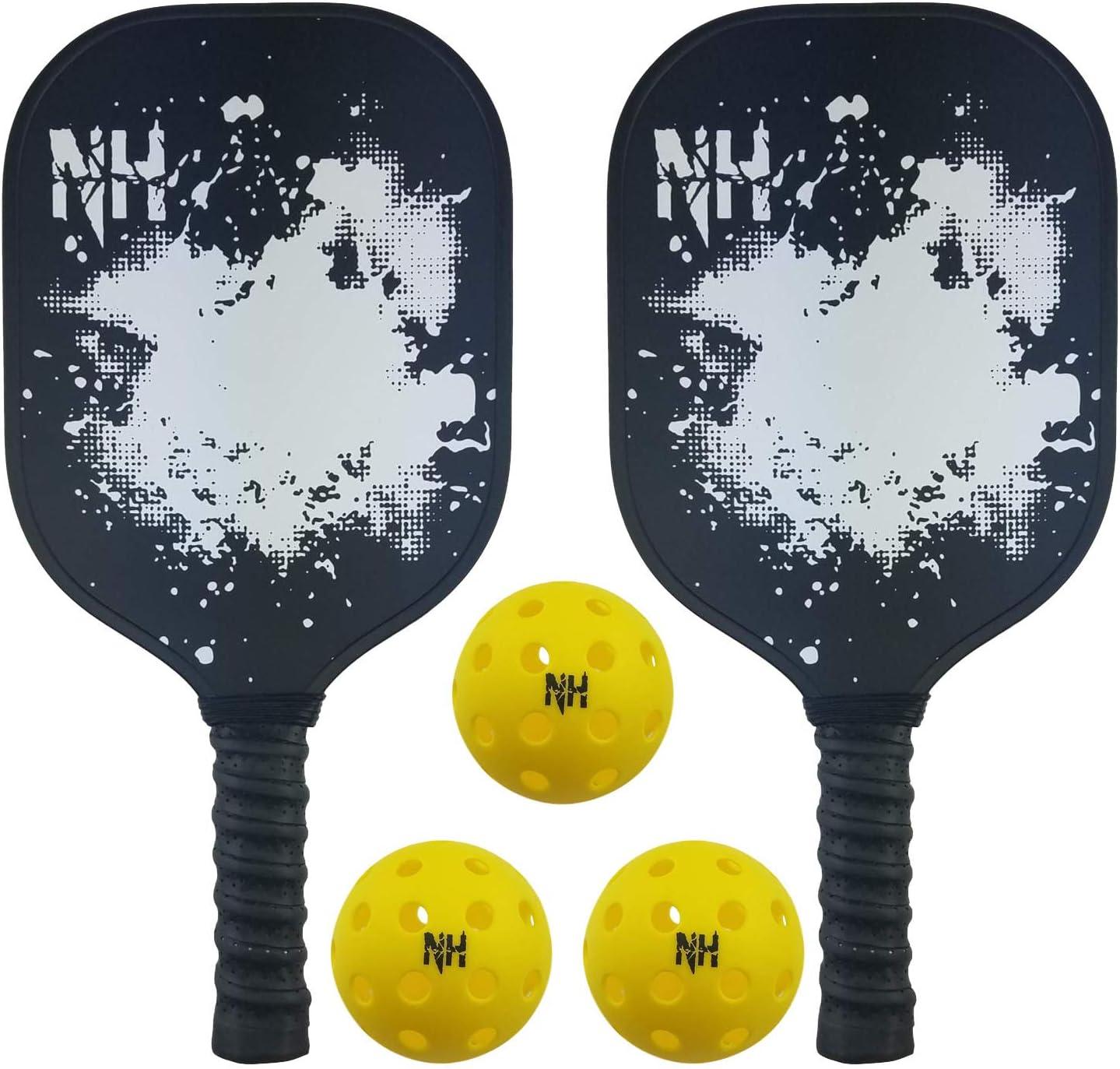 Juego de 2 palas de Pickleball y 3 pelotas – Raqueta de grafito ...
