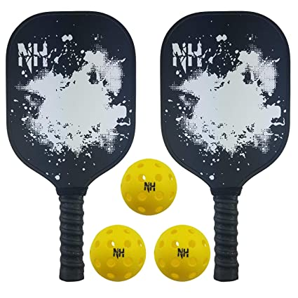 2 Pickleball Paddles & 3 Balls Set - Graphite Pickleball Racket Honeycomb Composite Core With Smooth Face - Ultra Cushion Grip Low Profile Edge Bundle ...