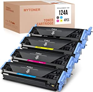 MYTONER Remanufactured Toner Cartridge Replacement for HP 124A Q6000A Q6001A Q6002A Q6003A Color Laserjet 2600n 1600 2605 1015 1017 2605dn 2605dnt (Black, Cyan, Yellow, Magenta, 4-Pack)