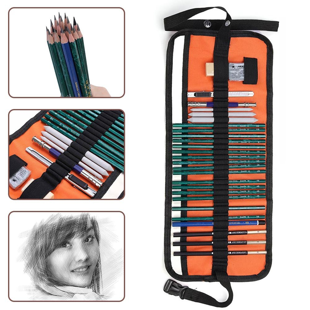 Amazon com pack of 27 charcoal sketching pencils sketch pencils pencil case professional graphite sketch pencil set for shading sketching and drawing