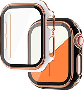 NewWays 2-Pack Cases Compatible for Apple Watch 40mm with Built in Screen Protector, Protective Case for iWatch (40mm, Black/Rose Gold, White/Rose Gold)