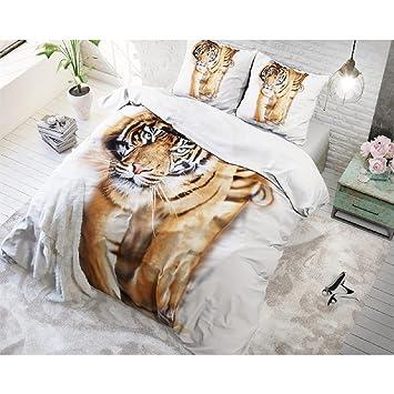 drap housse de couette Roi Tigre blanc 240 x 200/ 220 cm et 2