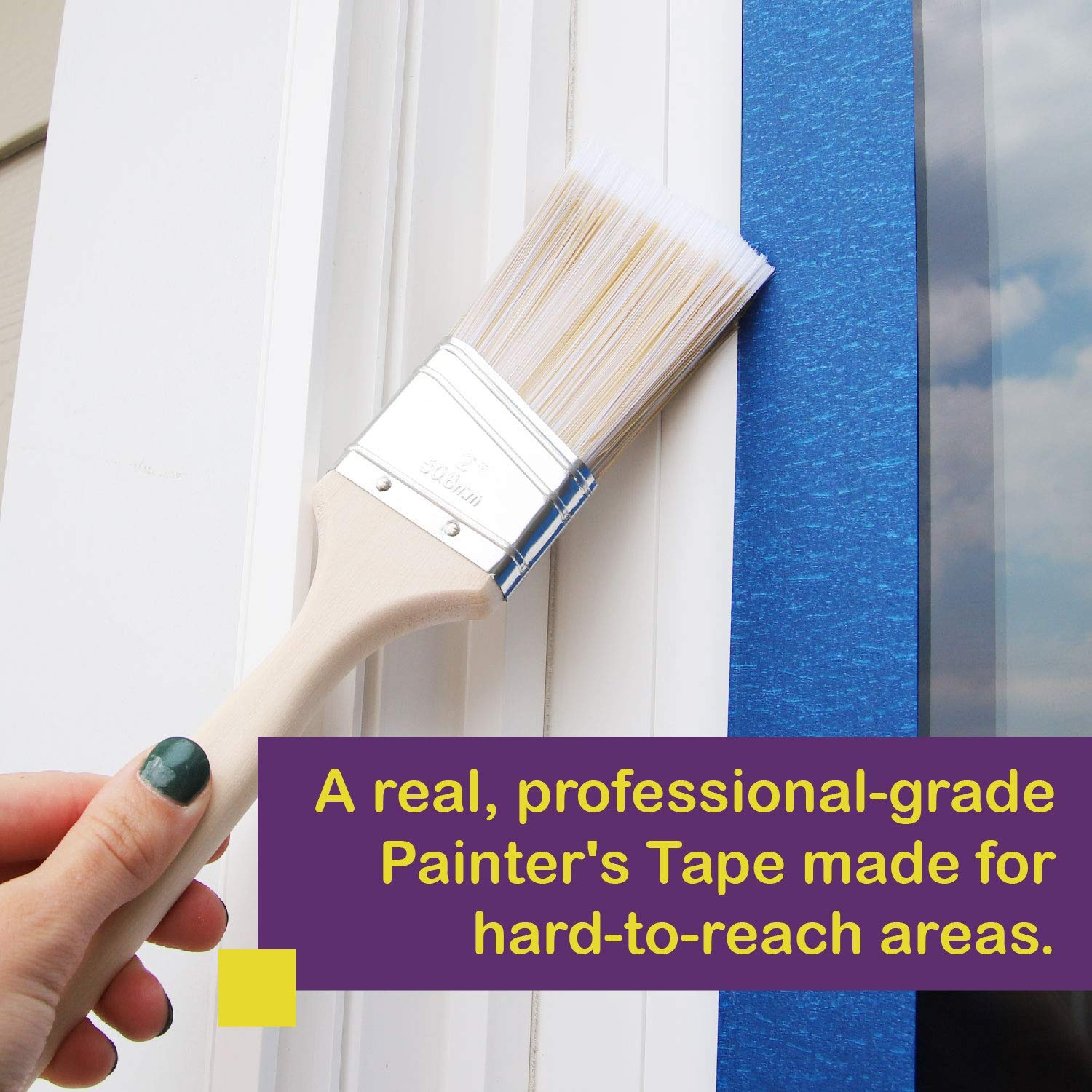 ATack Professional Blue Painters Tape Produces Sharp Lines and Residue-Free Artisan Grade Clean Release Wall Trim Tape 2 x 60 Yards Edge Lock Technology Single Roll