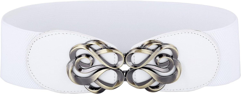 Gancho de metal para mujer Cintur/ón el/ástico ancho blanco Tama/ño S CL0413-2