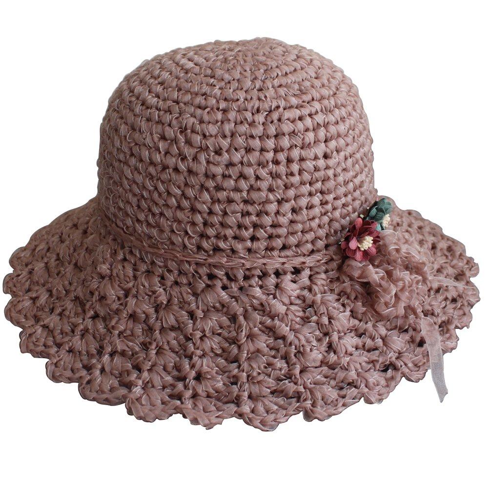 ZORJAR Handmade Chiffon Chic Fashion Knitted Crochet Bucket Hats (LightCoral)