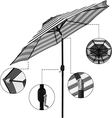 ABBLE Outdoor Patio Umbrella 9 Ft Stripe with Crank and Tilt, Weather Resistant, UV Protective Umbrella, Durable, 8 Sturdy Steel Ribs, Market Outdoor Table Umbrella – Black and White