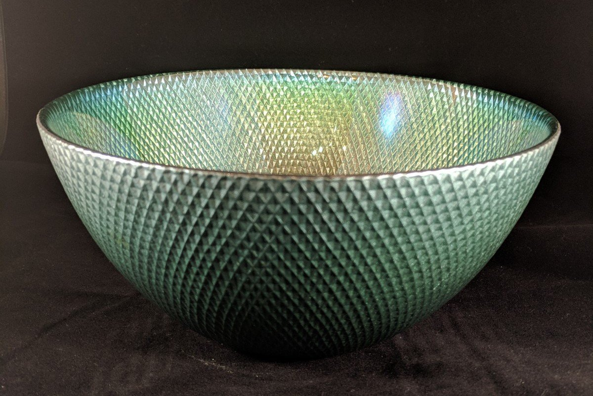 Circleware 03121 Radiance Glass Serving Mixing Fruit Bowl, Glassware for for Salad, Punch, Beverage, Ice Cream, Dessert, Food and Best Selling Home & Kitchen Decor Gifts, 10'', Teal Luster by Circleware (Image #2)