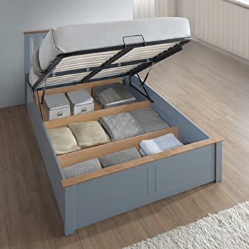 Happy Beds Grey Ottoman Storage Bed Phoenix Stone Grey Wood Modern Bed - 4ft Small & Happy Beds Grey Ottoman Storage Bed Phoenix Stone Grey Wood Modern ...