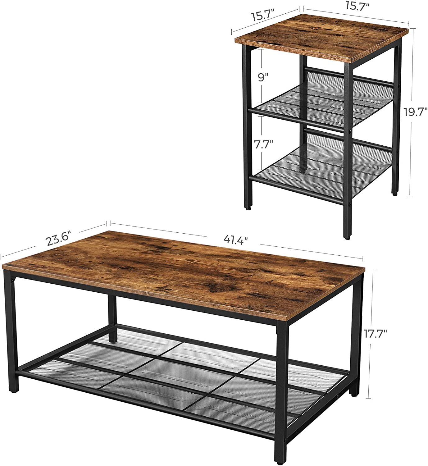 Metal Mesh Shelves Rustic Brown and Black ULCT64X and ULET24X VASAGLE Set of 2 Side Tables and 1 Coffee Table Bundle Adjustable Feet Industrial Design Easy Assembly Living Room Furniture Set
