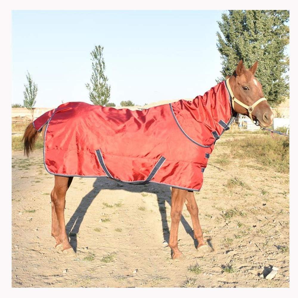 XLYAN Caballo Manta Chaleco De Algodón Grueso con Babero Cuello Desmontable A Prueba De Viento Anti-Lluvia Rain Horse Ropa Acolchada 350g,Burgundy-135