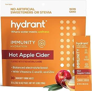 Hydrant Immunity Vitamins Electrolyte Powder w/ Vitamin C, B12, B6 & Zinc, Rapid Hydration Drink Mix, Hydration Powder Packets, Hot Apple Cider Flavor 30 Easy Open Stick Packs
