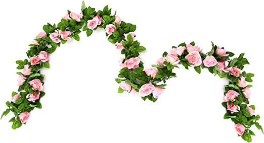 Amazon Com Cinoon 2 Pack 6 5 Ft Artificial Flowers Rose Vine