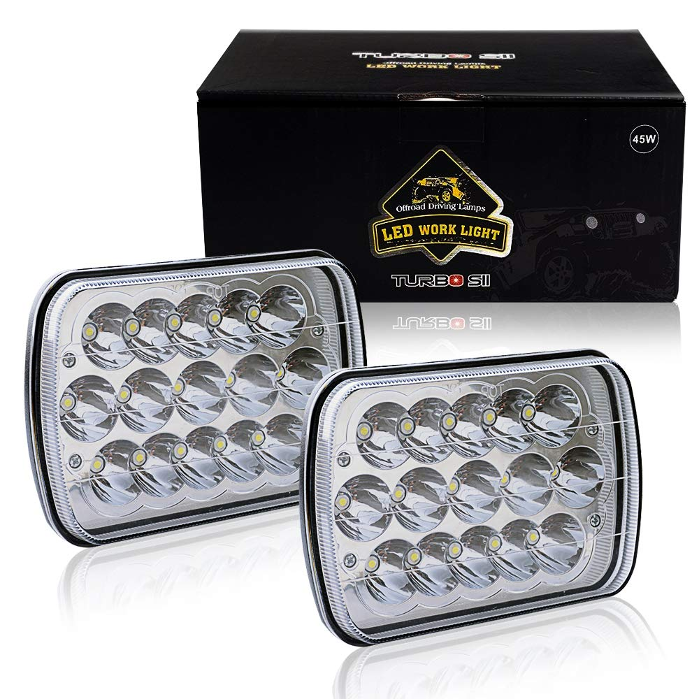 Turbosii Dot Approved 45w Rectangle 5x7 7x6 Led Flash Light Studio Licht Chrome Pro 250 Headlights Hi Low Sealed Beam H4 Plug H6054 H5054 6052 For Jeep Wrangler Yj Cherokee Xj Toyota