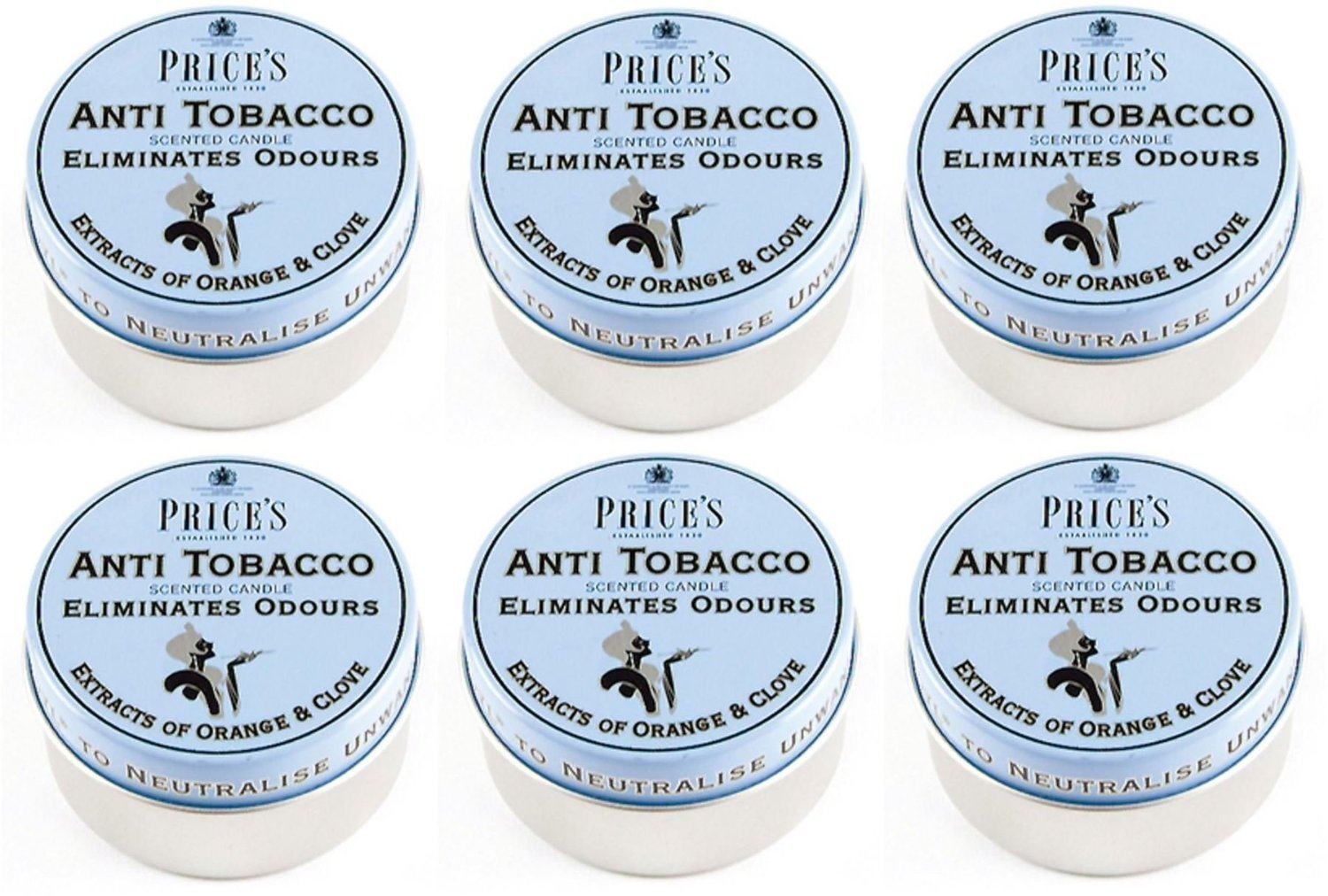 6 x Prices Anti Tobacco Candle In Tin Eliminates Tobacco & Smoking Odours by Price's Candles Prices Candles