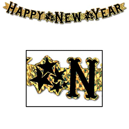 Amazon.com: Prismatic Happy New Year Streamer (gold) Party Accessory ...