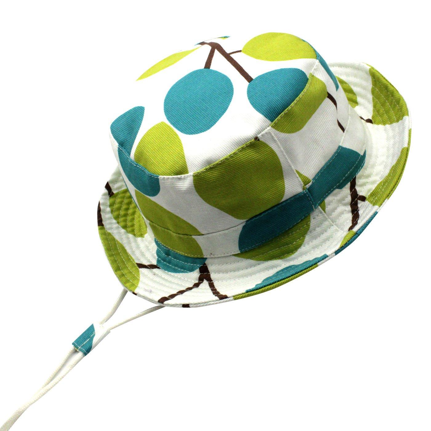 Langzhen Chapeau de Soleil Anti-uv Bonnet Voiture pour Bébé Enfant Fille Garçon Bob Hat Eté Protection Coton Panama Plage Tour de Tête 46-54CM(6mois-8ans)