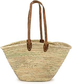 """Moroccan Straw Market Shoulder Bag w/Leather Shoulder Straps - 21""""Lx14""""H - Palma"""