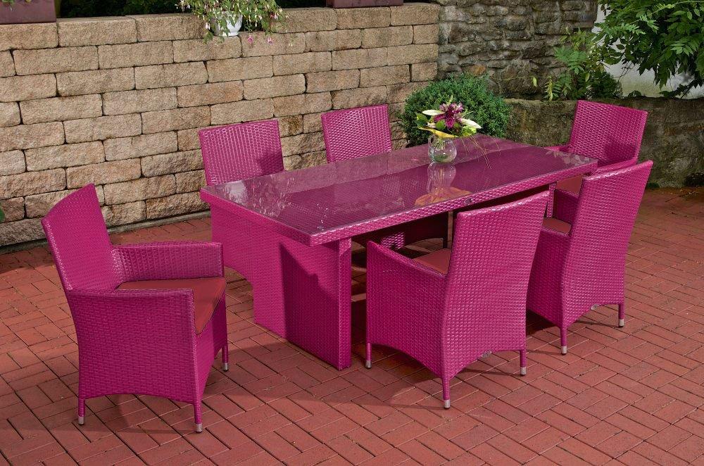 gartenm bel set sitzgarnitur avignon rubin rot pink polyrattan aluminium gestell. Black Bedroom Furniture Sets. Home Design Ideas