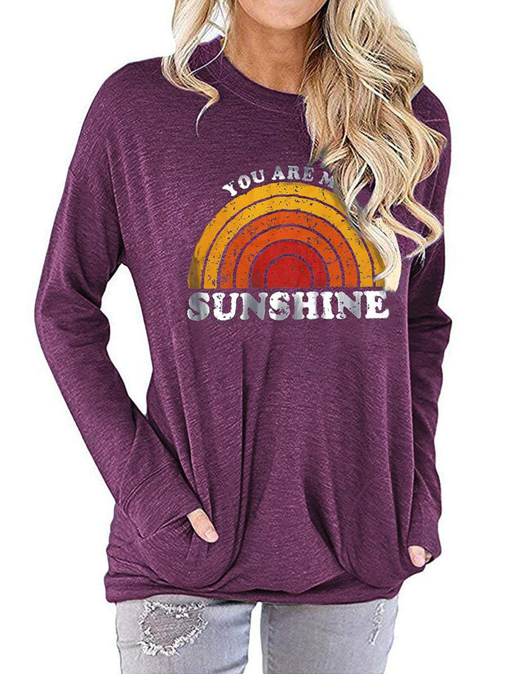 YASAKO Casual Graphic Sweatshirt for Women with Pocket Comfy Fit Lightweight Pullover Tee Shirts Letter Print Tops,B-WineRed,L