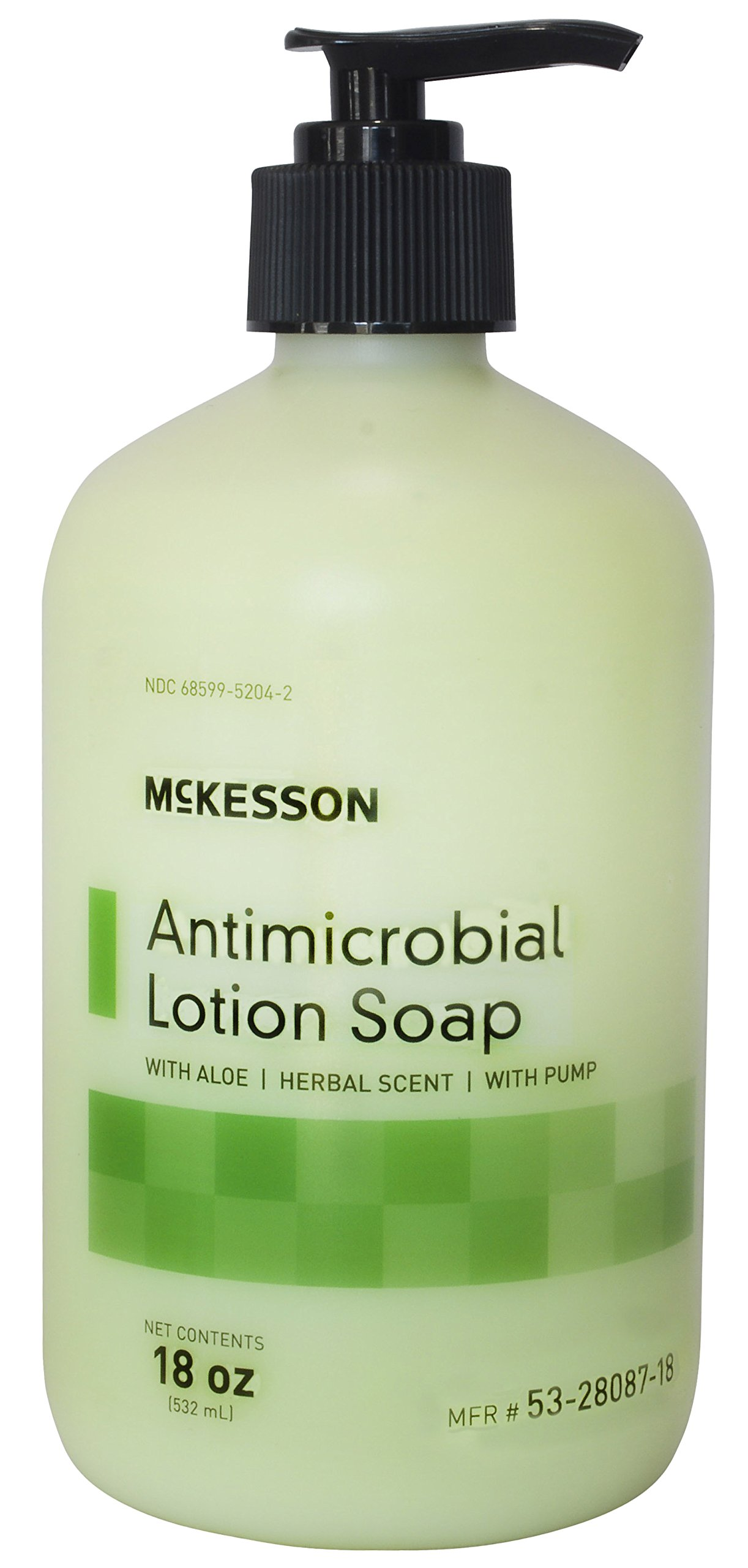 McKesson 53-28087-18 Antimicrobial Lotion Soap with Aloe and Herbal Scent, 18oz Bottle with Pump (Pack of 12) by McKesson