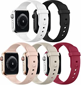 UHKZ Sport Band Compatible with Apple Watch Bands 38mm 40mm 42mm 44mm Women Men, Soft Silicone Sport Strap Replacement Band for iWatch Series 6/5/4/3/2/1/SE, 5 Pack