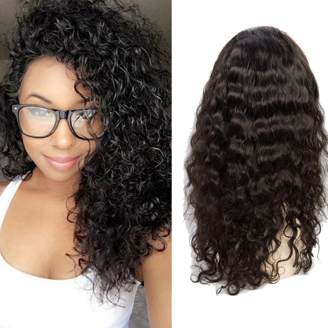 VIPbeauty Water wave Perruque lace frontale 130% Densite Remy cheveux Bresilien naturel couleur naturel pour femme 14 pouces.