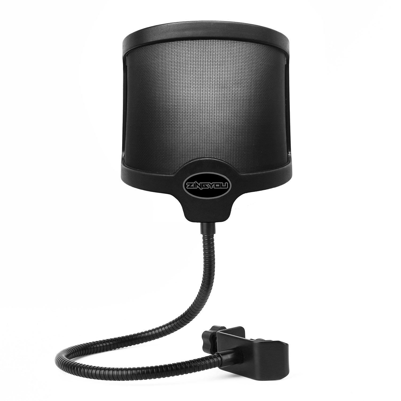 ZINGYOU PF-101 Microphone Pop Filter, Studio Recording Pop Shield, Mic Windscreen with Dual Screen, Metal and Nylon Mesh by ZINGYOU