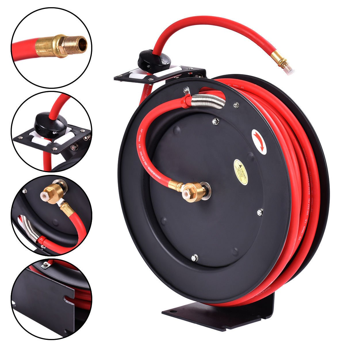 3/8'' x 25' Auto Rewind Retractable Air Hose Reel Compressor 300 PSI ,New by Jikkolumlukka