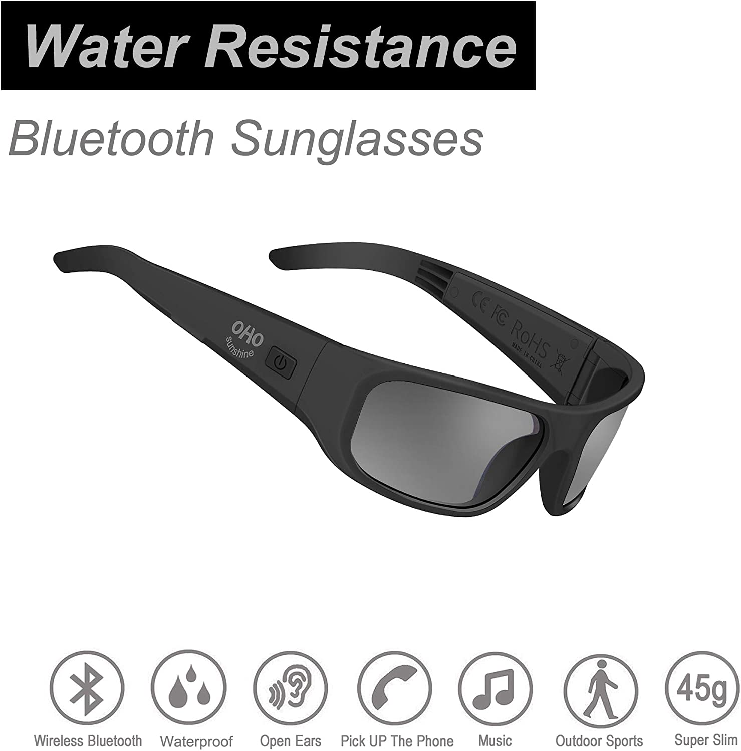 Water Resistance Audio Sunglasses,Open Ear Bluetooth Sunglasses to Listen Music and Make Phone Calls with Polarized UV400 Protection Safety Lenses