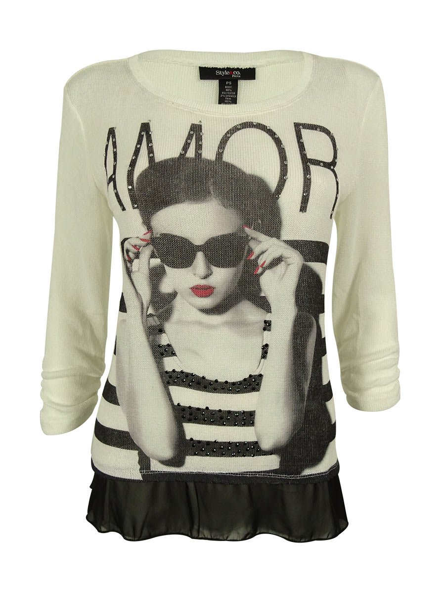 Style & Co.. Women's Ruched Sleeves Sweater Top (PL, Bella Amore)