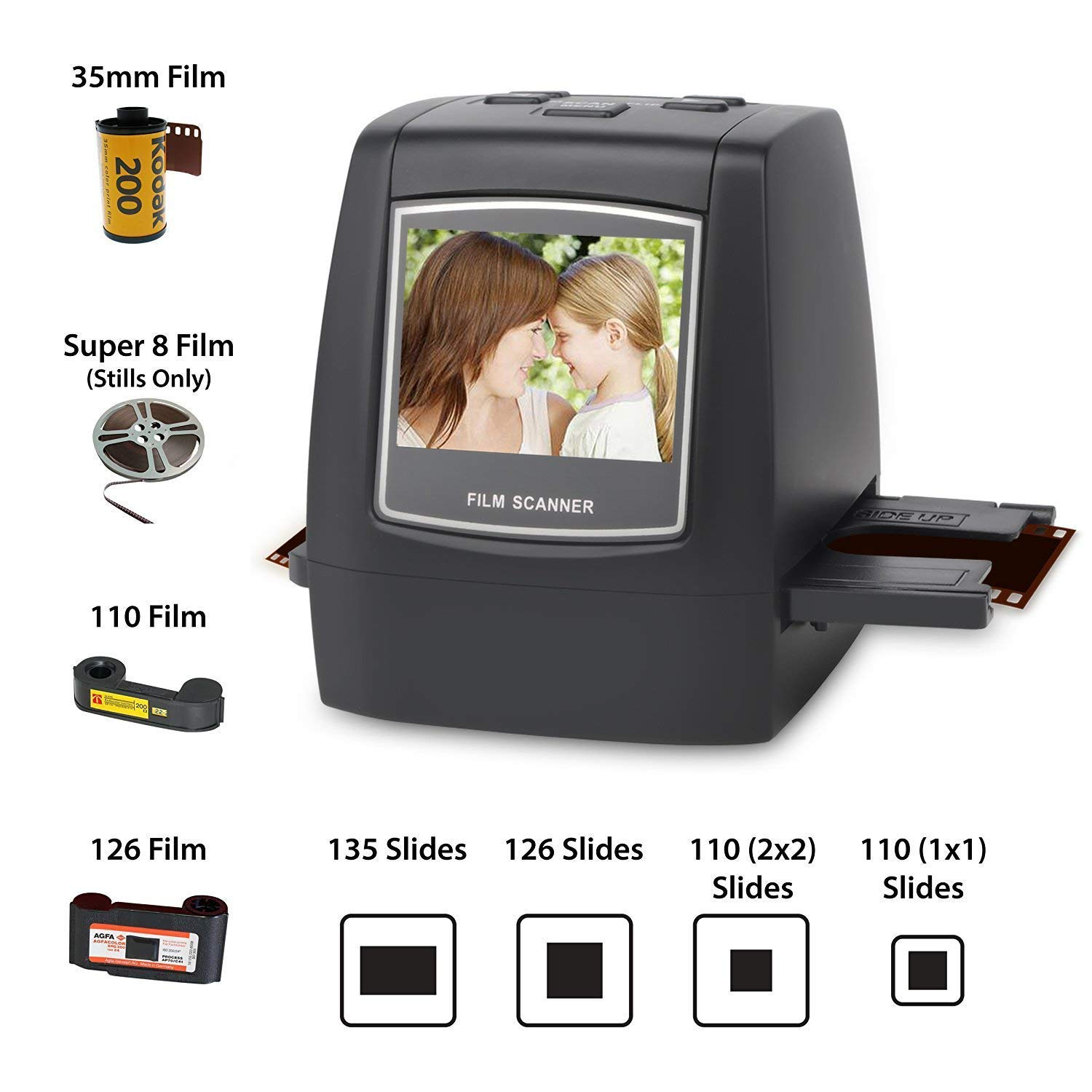 DIGITNOW Film Scanner with 22MP Converts 126KPK/135/110/Super 8 Films, Slides, Negatives All in One into Digital Photos,2.4'' LCD Screen, Impressive 128MB Built-in Memory