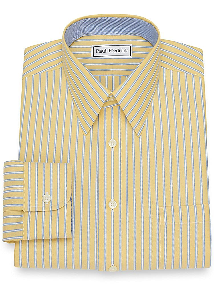 1930s Style Mens Shirts Paul Fredrick Mens Non-Iron Cotton Twin Stripe Dress Shirt $44.98 AT vintagedancer.com