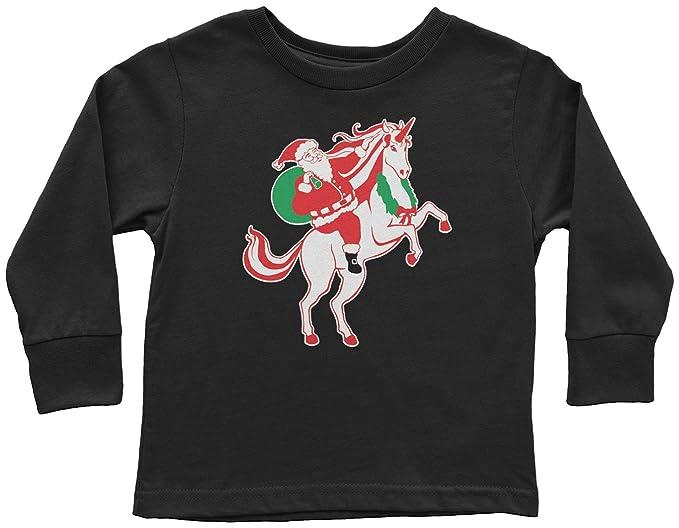 c8334db9 Amazon.com: Threadrock Kids Santa Claus Riding A Unicorn Toddler ...