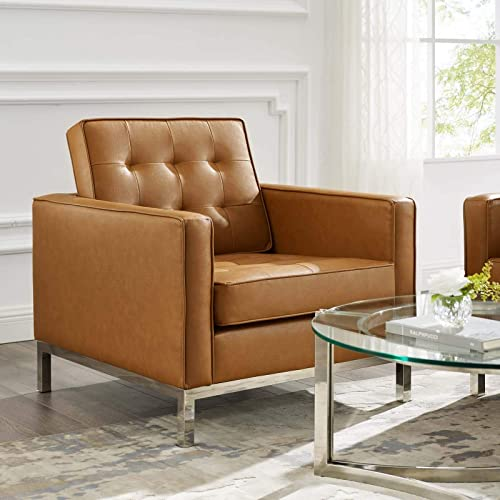Modway Loft Tufted Upholstered Faux Leather Armchair