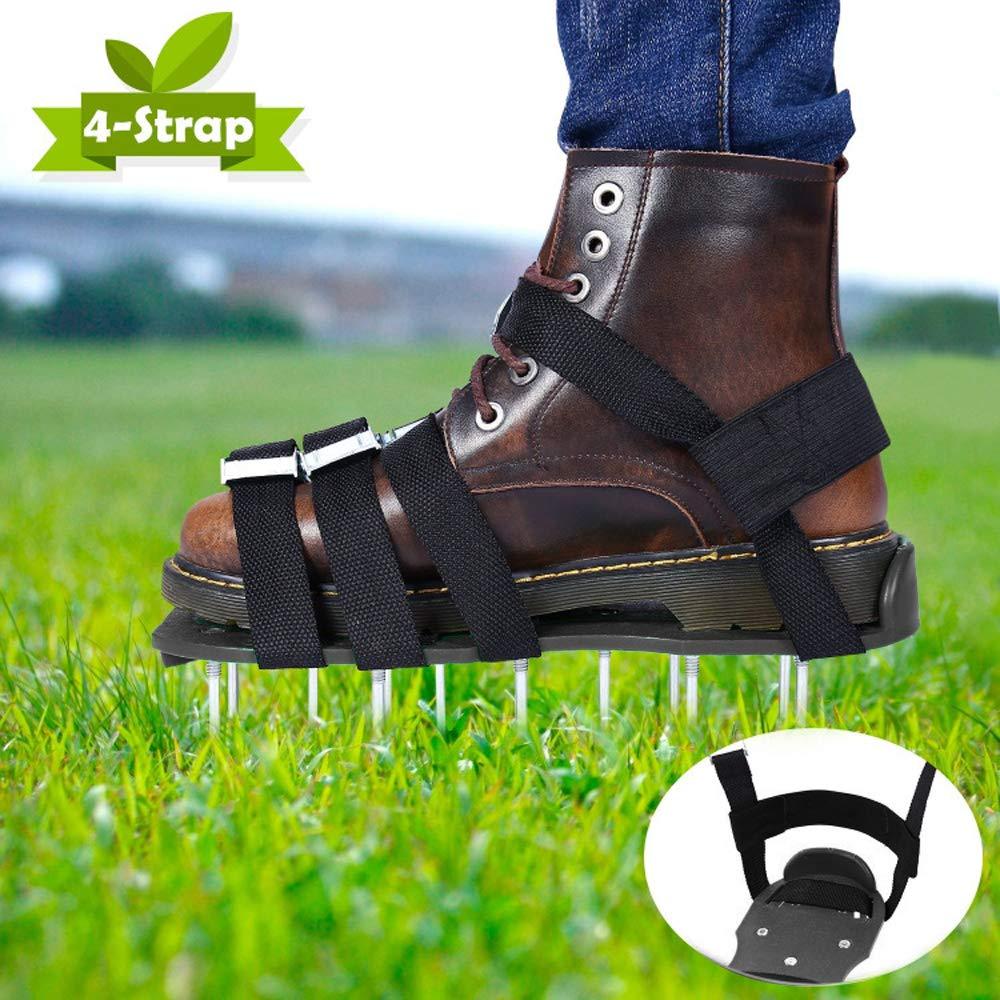 Sinbide Chaussures de Gazon A/érateur de Gazon Noir Chaussures da/érodrome de Gazon Chaussures a/ératrices de pelouse /à Clous avec Cl/é /à molette en Bonus